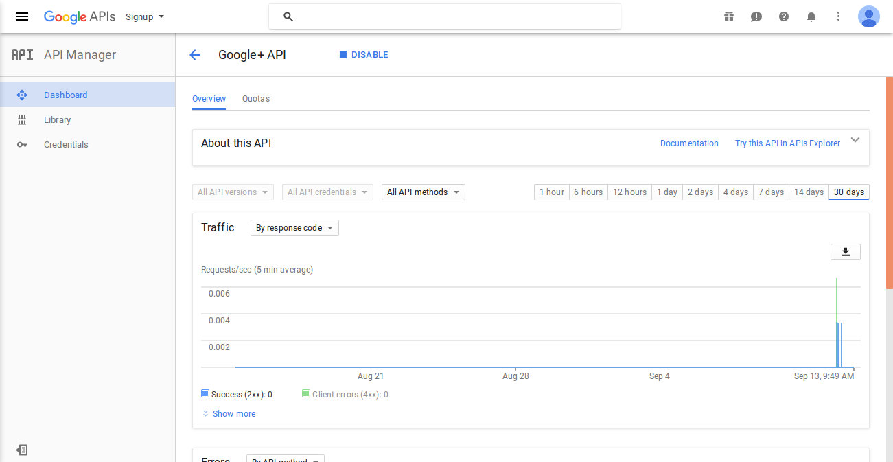 Solved - Access Not Configured  Google+ API (truncated   ) on google