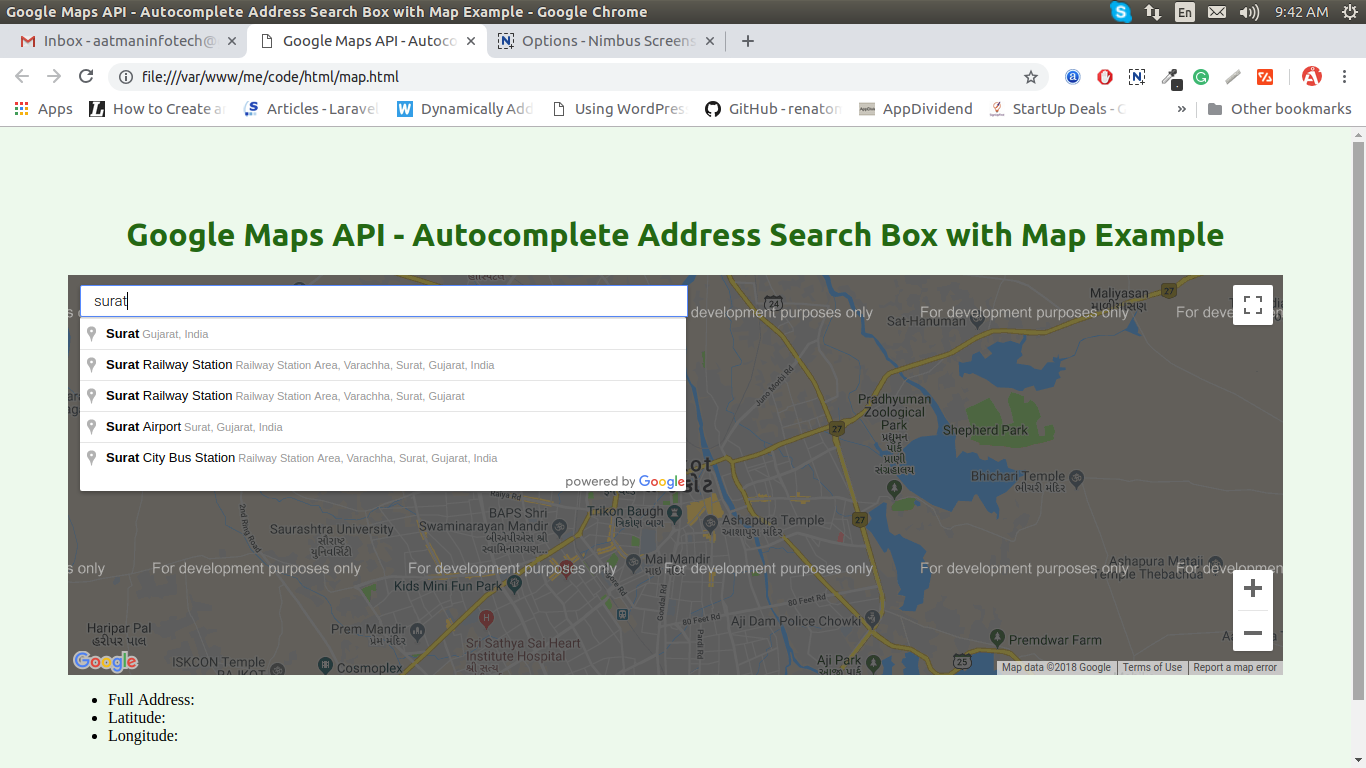 Google Maps API - Autocomplete Address Search Box with Map Example