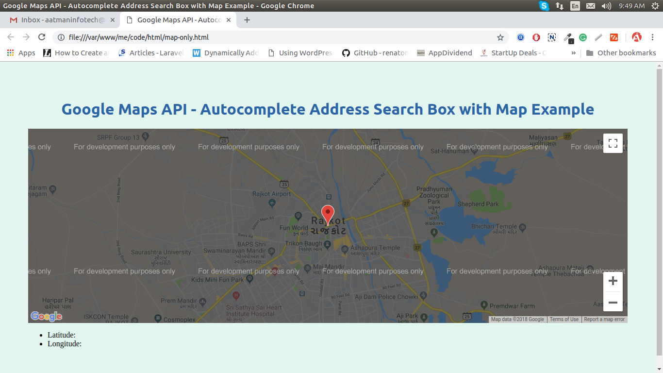 Google Maps API - Simple google map with draggable marker Example