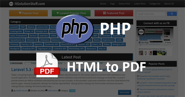 PHP - How to convert HTML file to PDF using Dompdf library?