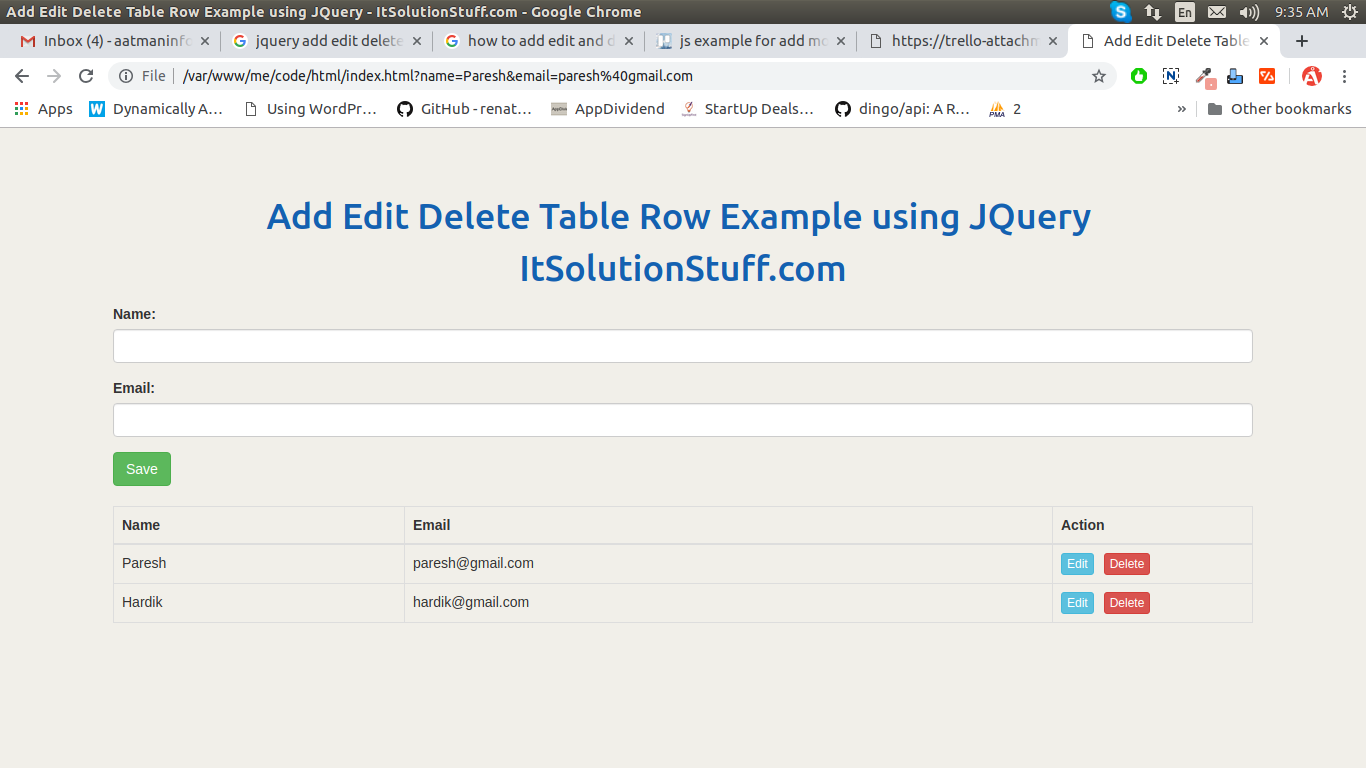 Add Edit Delete Table Row Example using JQuery