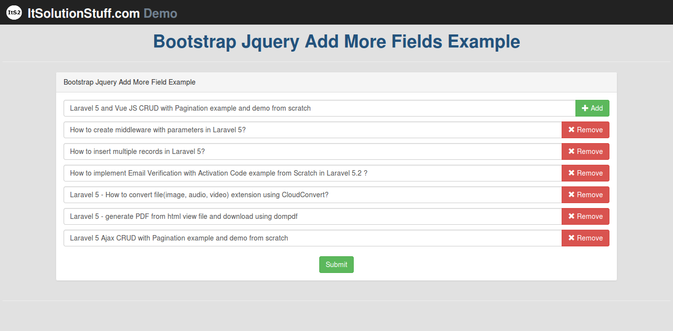 Simple Add remove input fields dynamically using jquery with