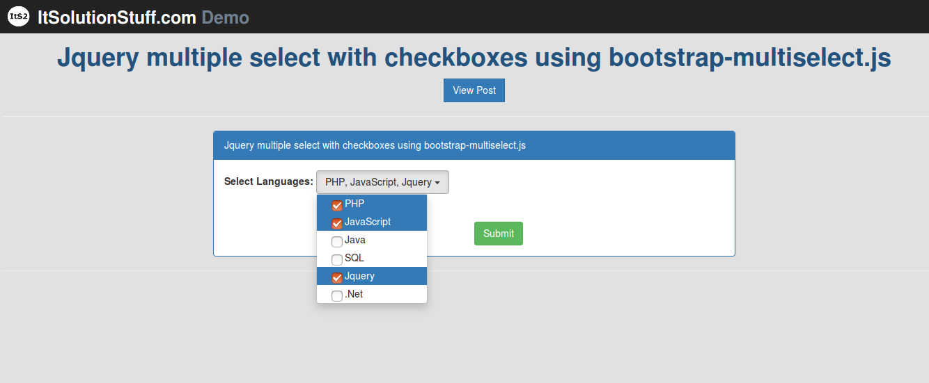 Bootstrap - Jquery multiple select with checkboxes example using bootstrap-multiselect.js plugin