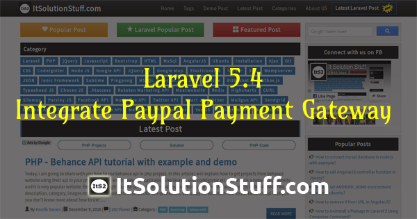 How to integrate paypal payment gateway with laravel 5.4