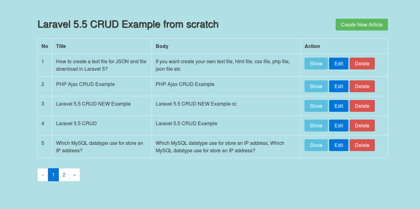 Laravel 5.5 CRUD Example from scratch