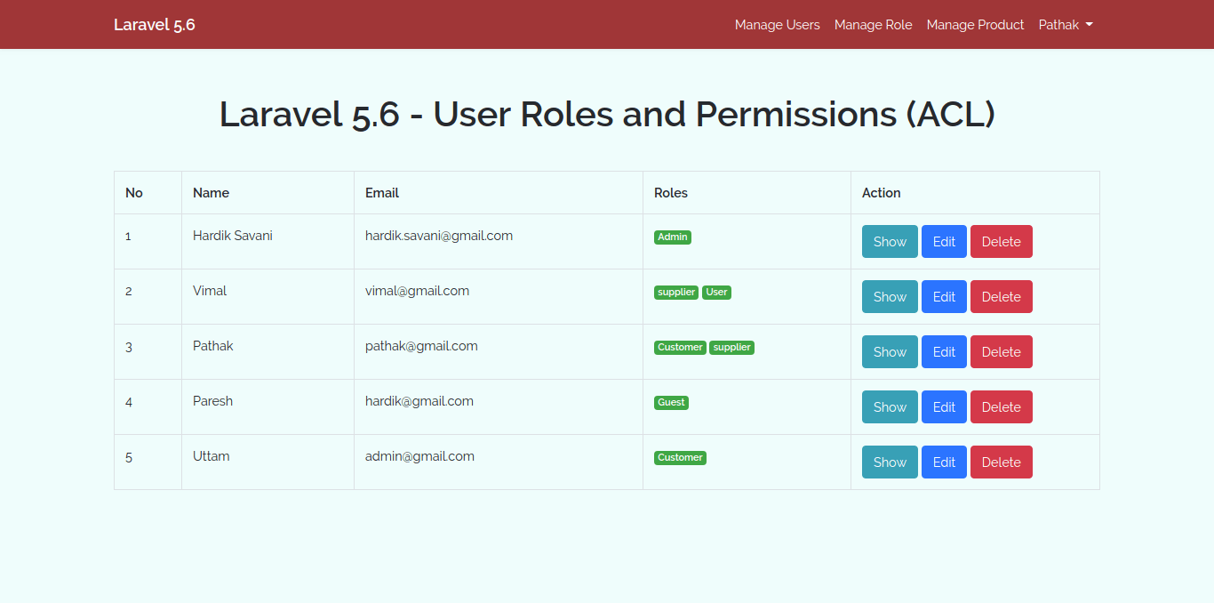 Laravel 5.6 - User Roles and Permissions (ACL) using Spatie Tutorial