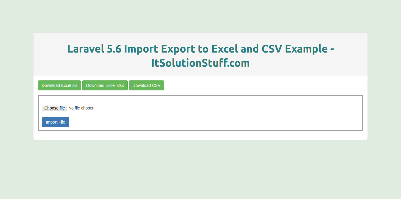 Laravel 5.6 Import Export to Excel and CSV example