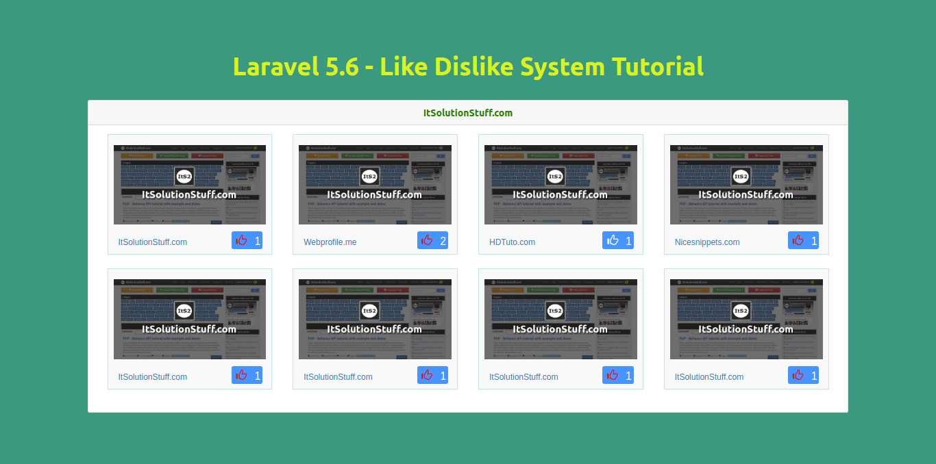 PHP Laravel - Like Dislike System Tutorial
