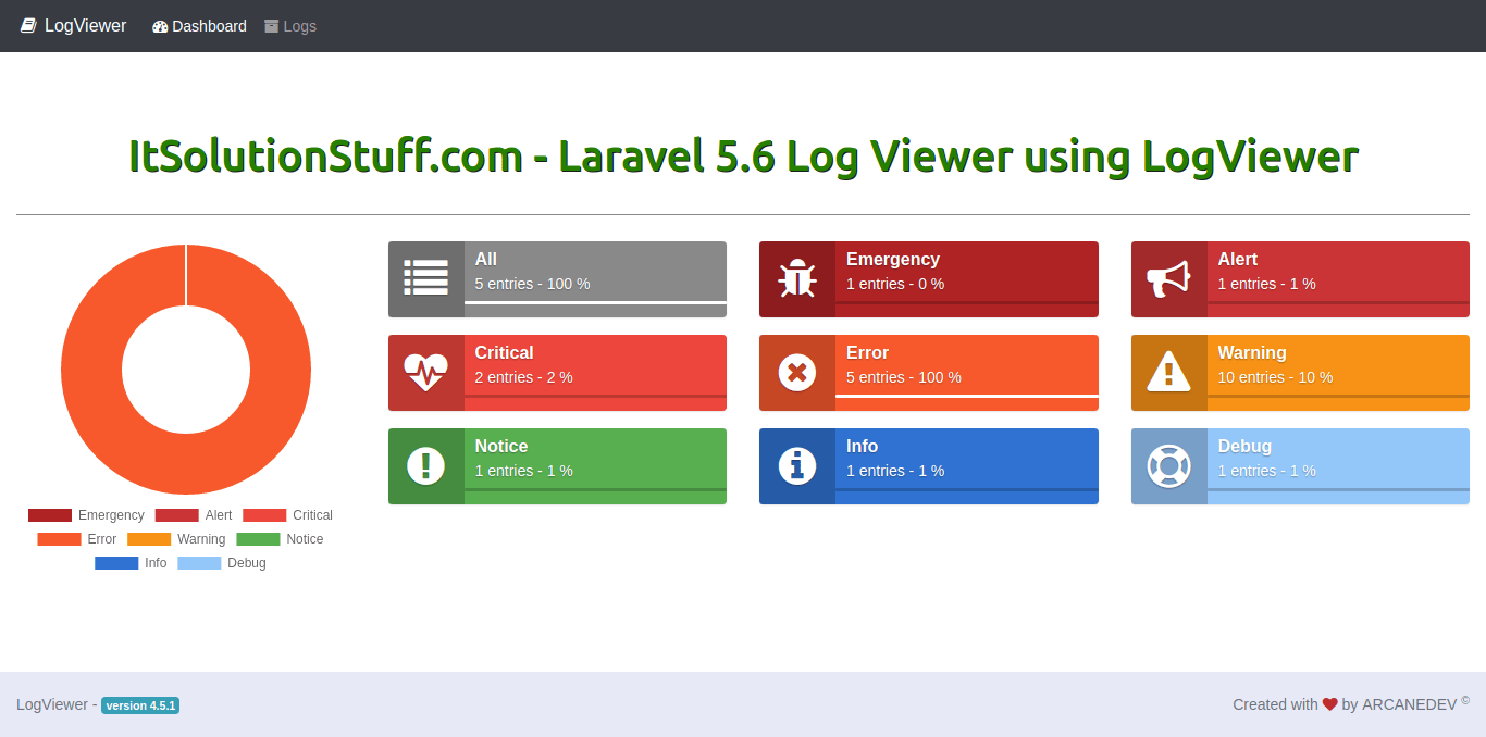 Laravel 5.6 - Log viewer using LogViewer package example