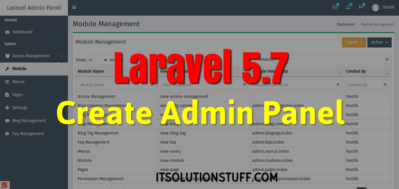 PHP Laravel 5.7 - Create Admin Panel Example
