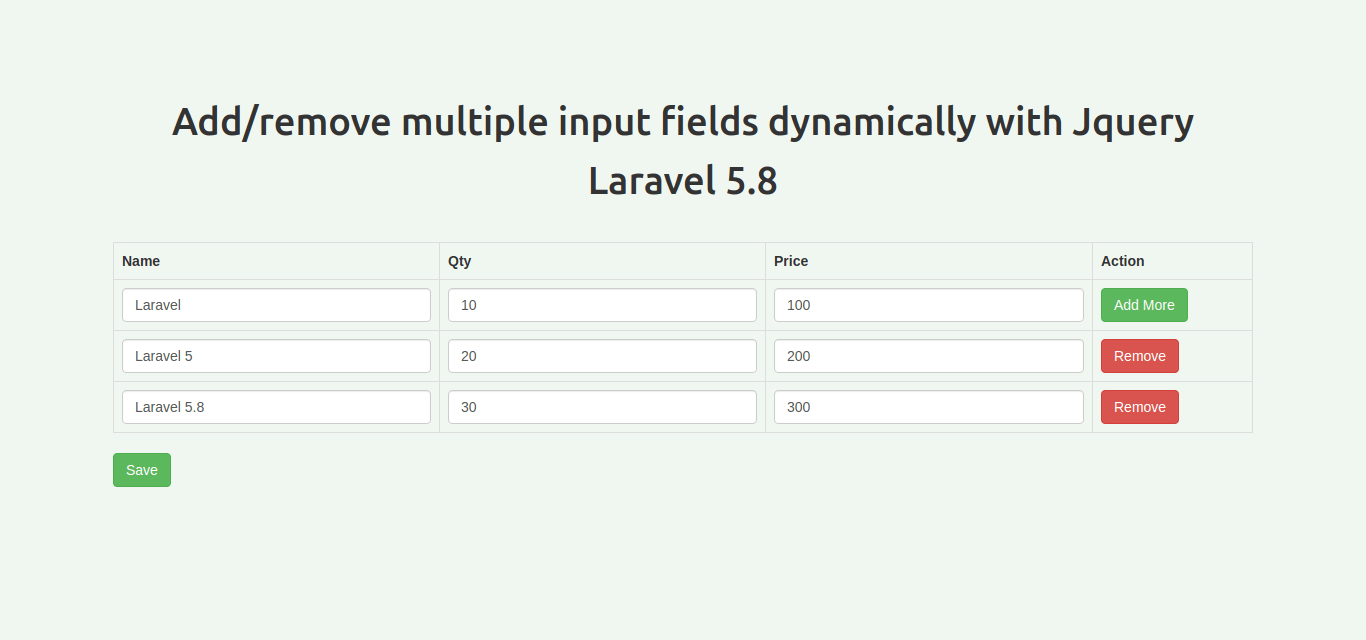 Add/remove multiple input fields dynamically with Jquery Laravel 5.8