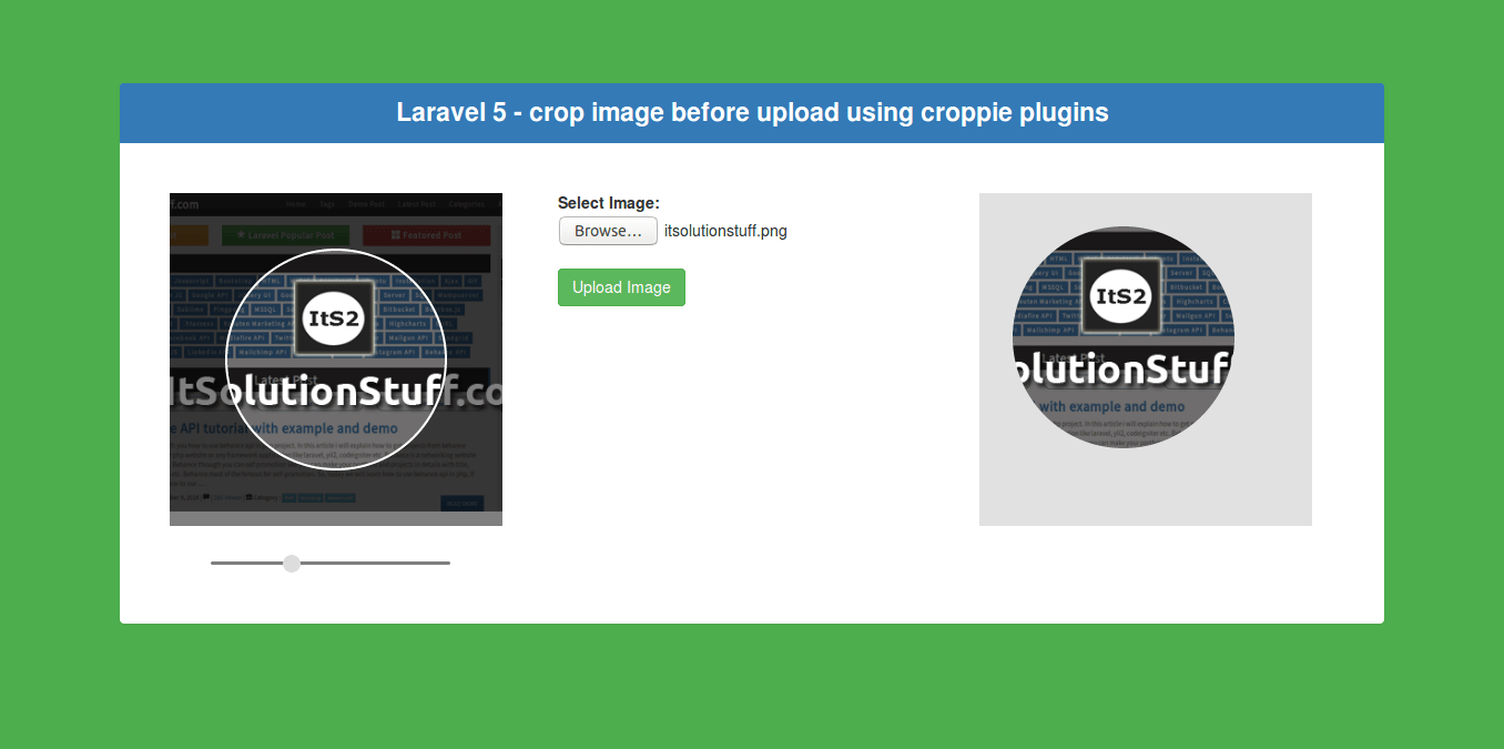 Laravel - Ajax crop image before upload using using croppie plugin