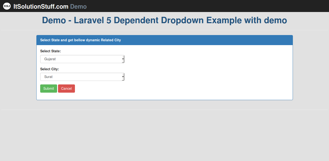 How to make simple dependent dropdown using jquery ajax in Laravel 5?