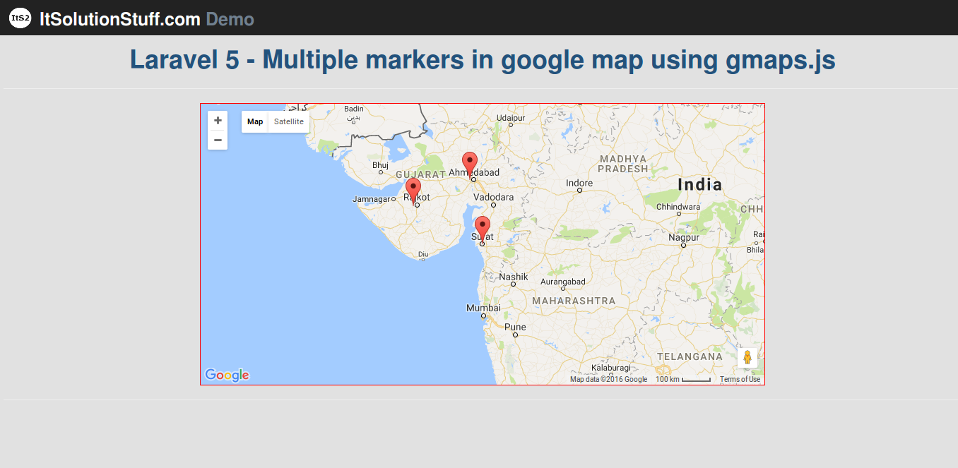 Laravel 5 - Multiple markers in google map using gmaps.js