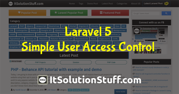 Laravel 5 - Simple user access control using Middleware
