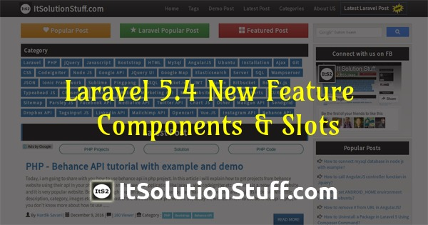 Laravel 5.4 New Feature - Add new Components & Slots in Blade Template