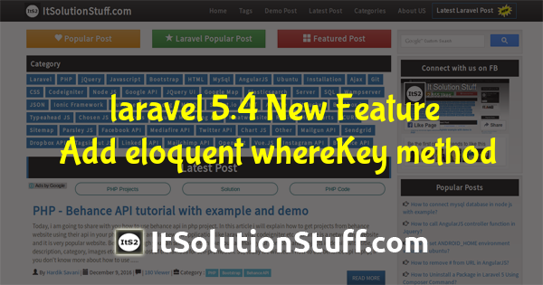 laravel 5.4 New Feature - Add eloquent whereKey method
