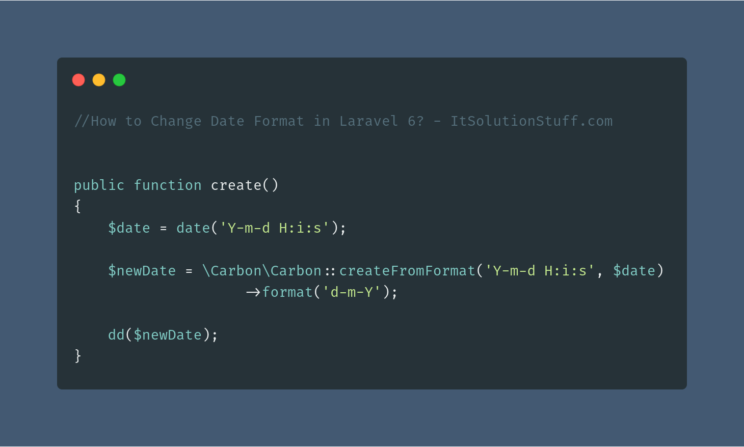 How to Change Date Format in Laravel 7/6?