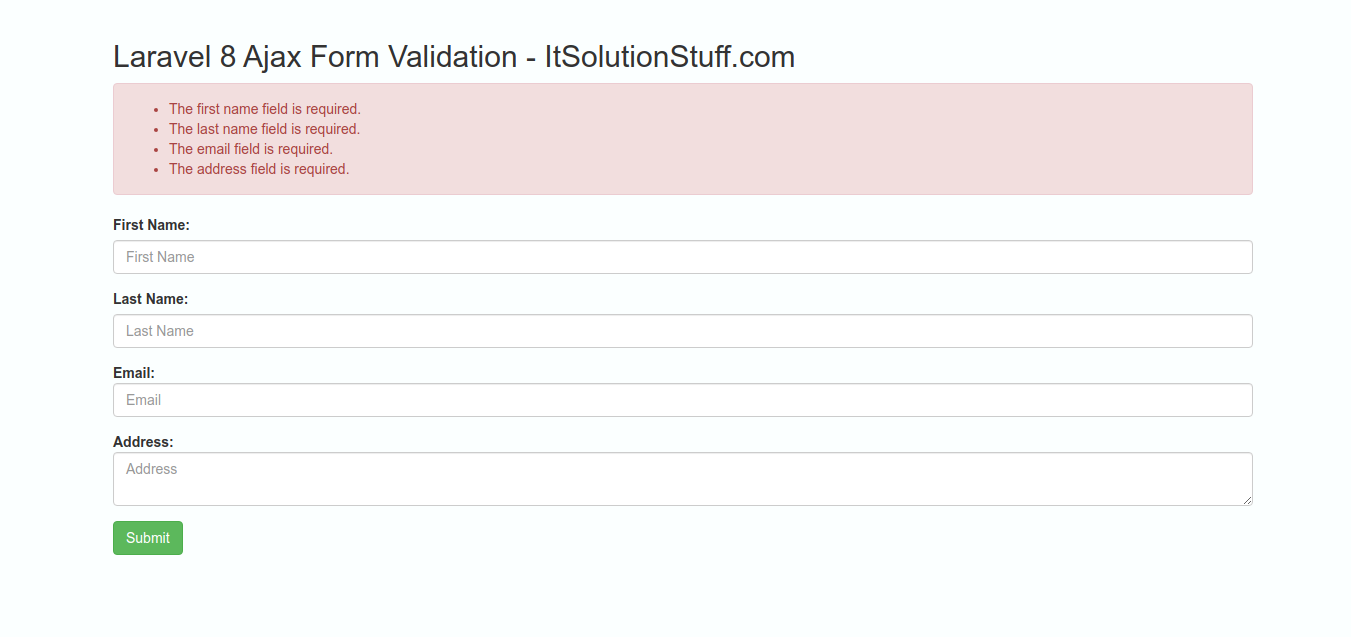 Laravel 8 Ajax Form Validation Tutorial