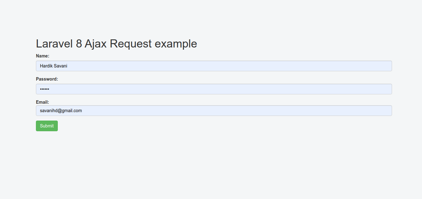 Laravel 8 Ajax Post Request Example
