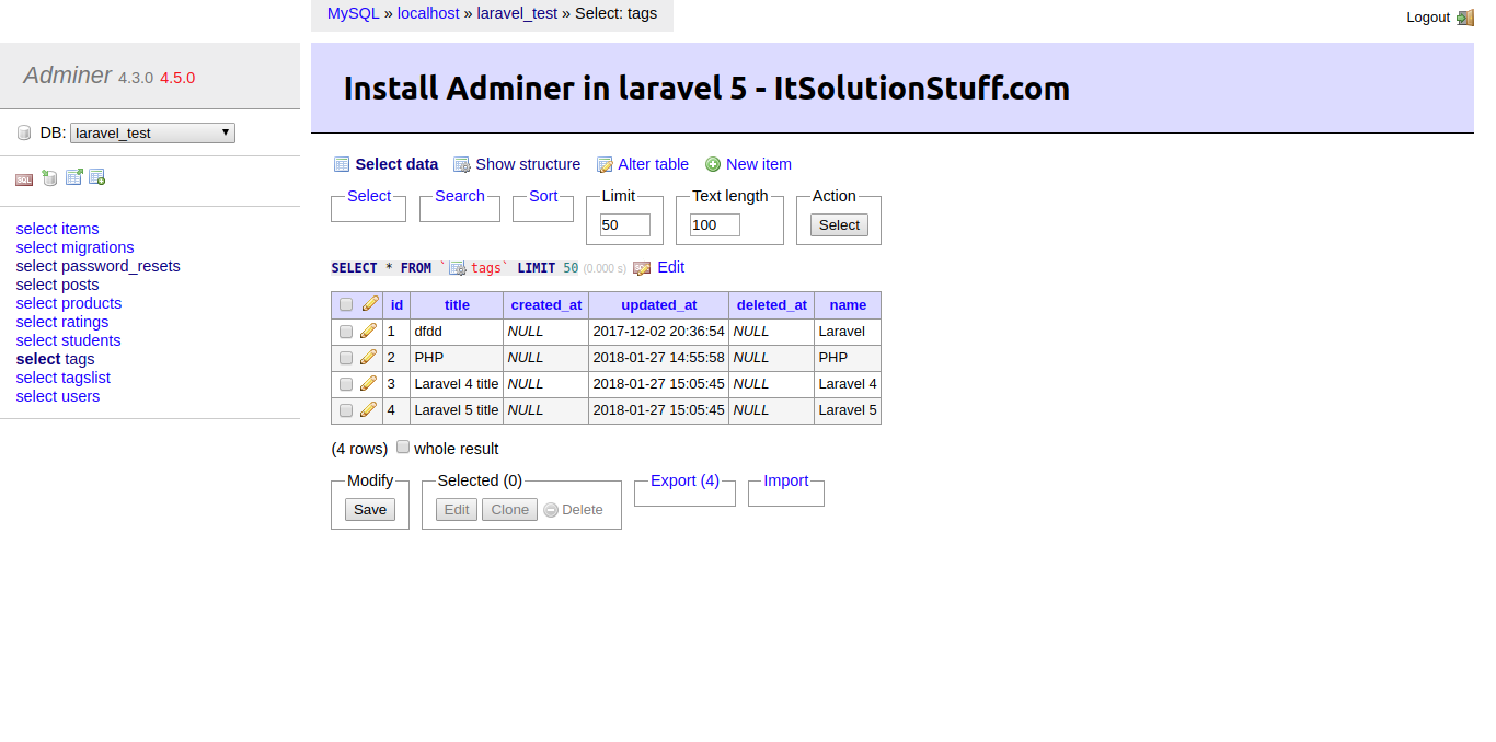 Install Adminer In PHP Laravel 5