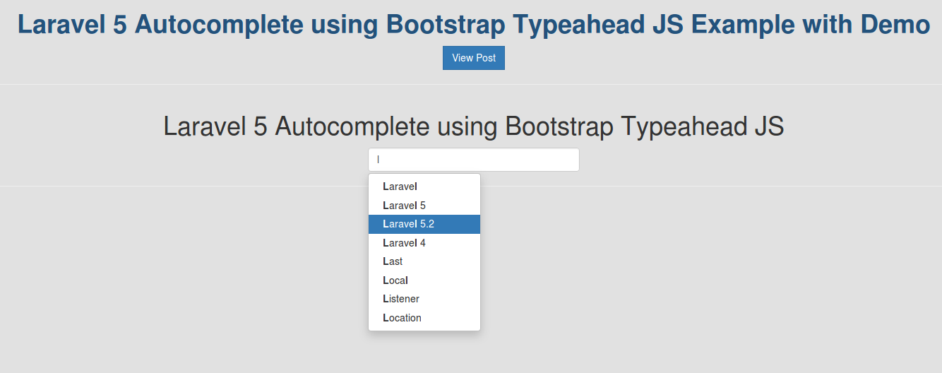 Laravel 5 Autocomplete using Bootstrap Typeahead JS