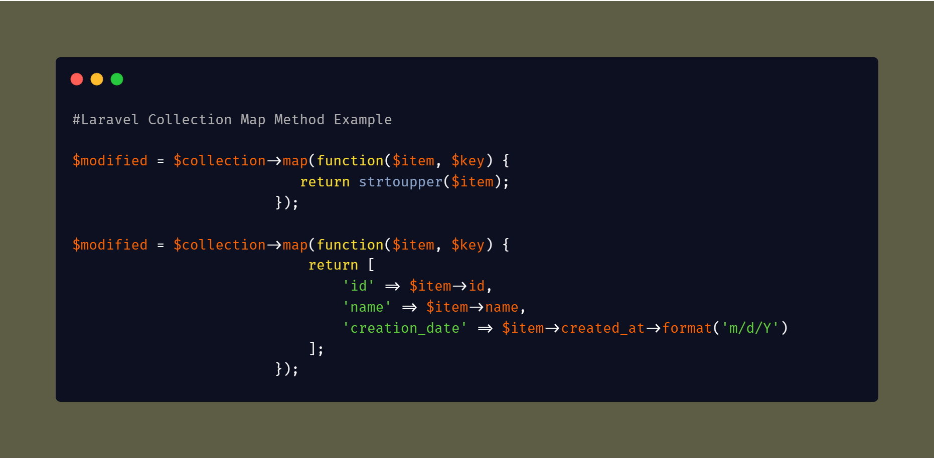 Laravel Collection Map Method Example