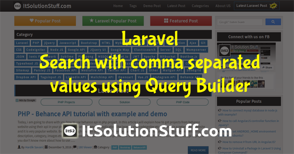 Laravel - How to search with comma separated values using