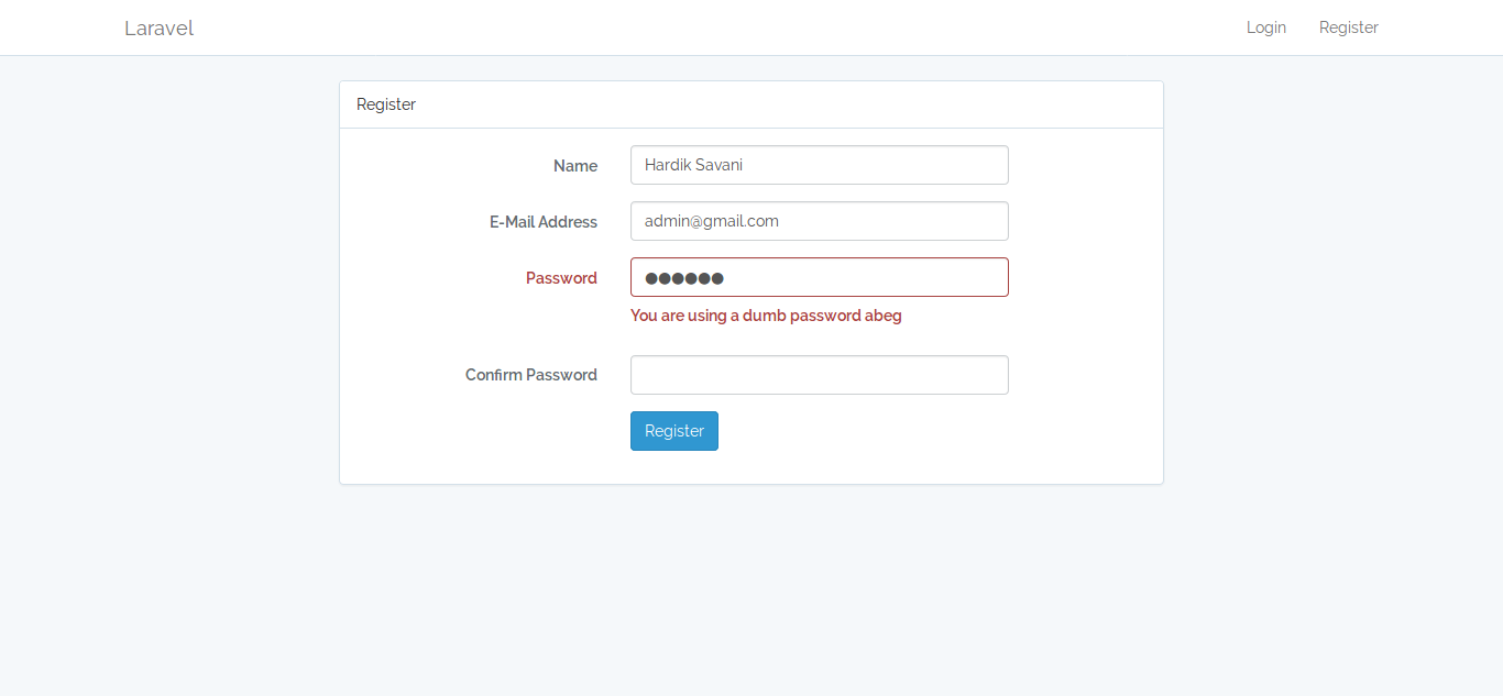 Laravel 5 - user prevent common passwords using laravel-password package