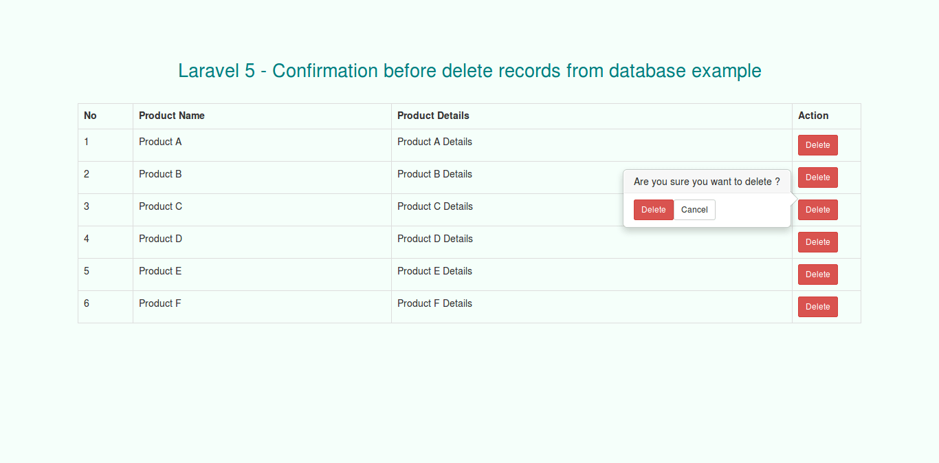 Laravel 5 - Confirmation before delete record from database example