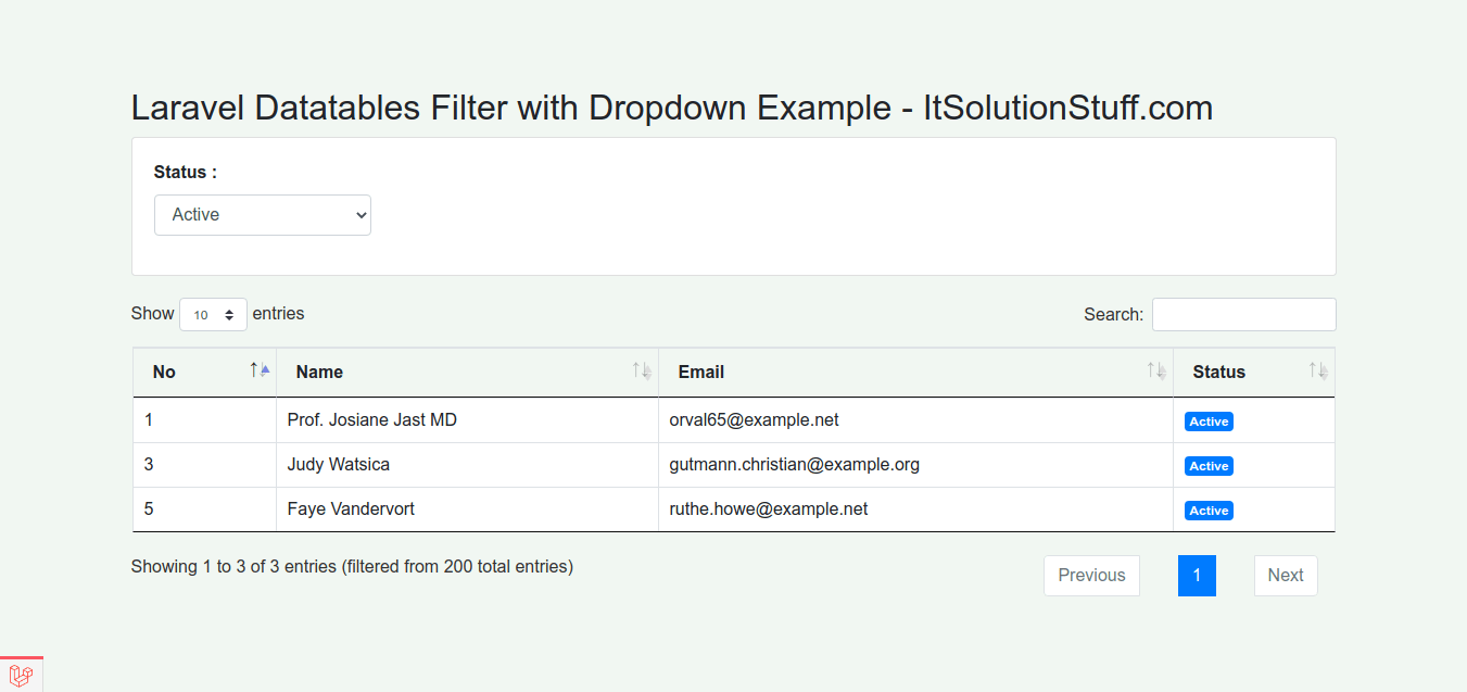 Laravel Datatables Filter with Dropdown Example