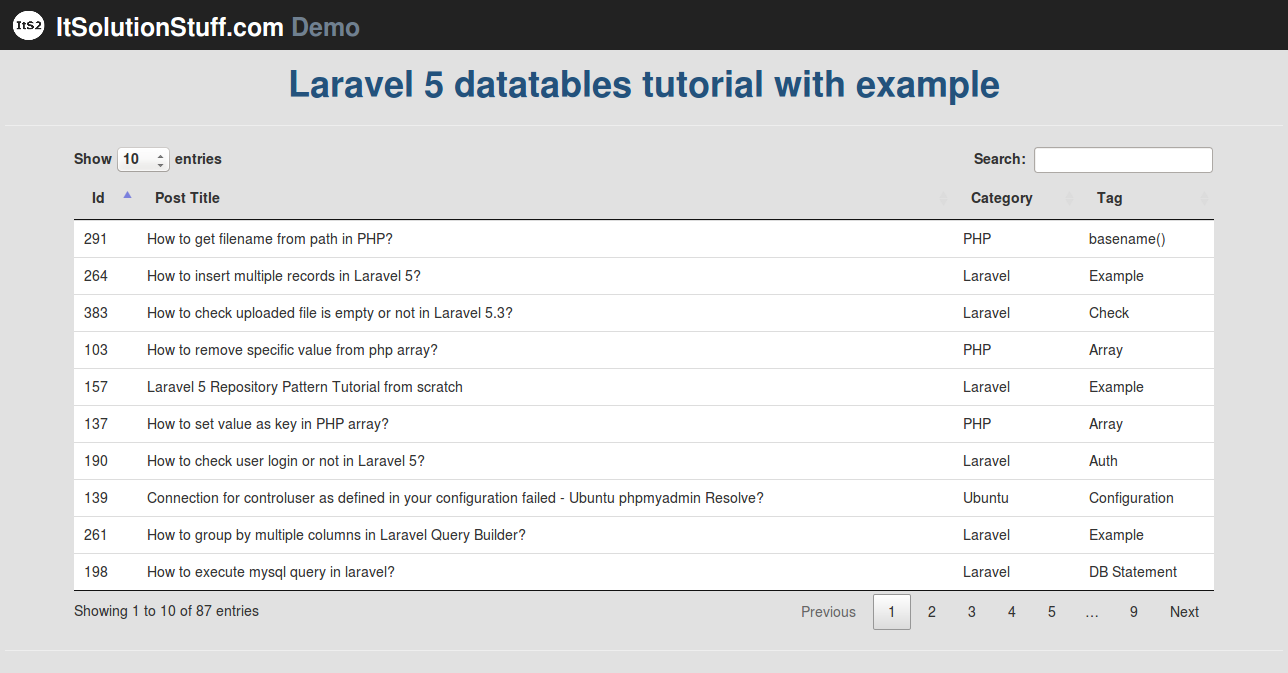 Laravel 5 - Implementing datatables tutorial using yajra package