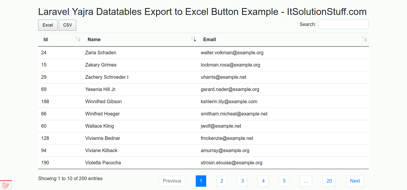 Laravel Yajra Datatables Export to Excel CSV Button Example