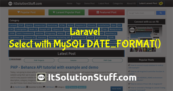 How to use Select with MySQL DATE_FORMAT() in Laravel?