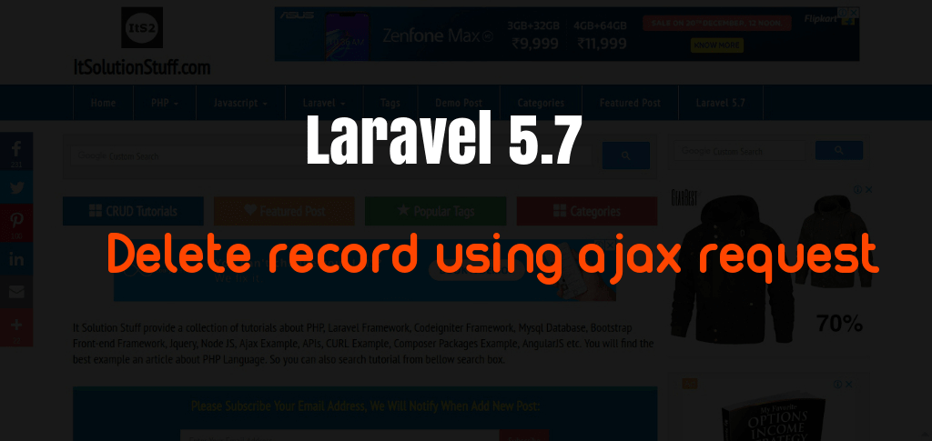 Delete record using ajax request in Laravel Example