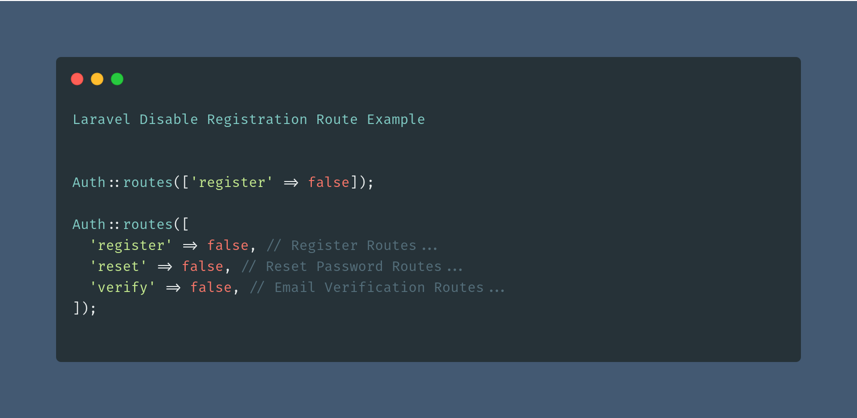 Laravel Disable Registration Route Example