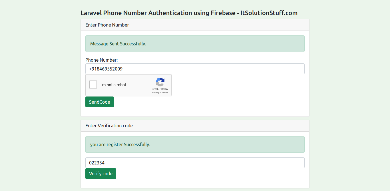 Laravel 8 Firebase Mobile Number (OTP) Authentication Tutorial