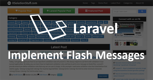 Laravel - Implement Flash Messages with example