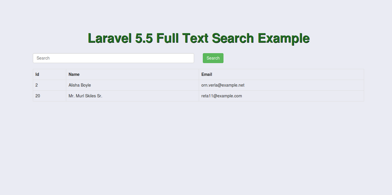 Full Text Search in Laravel 5 Example