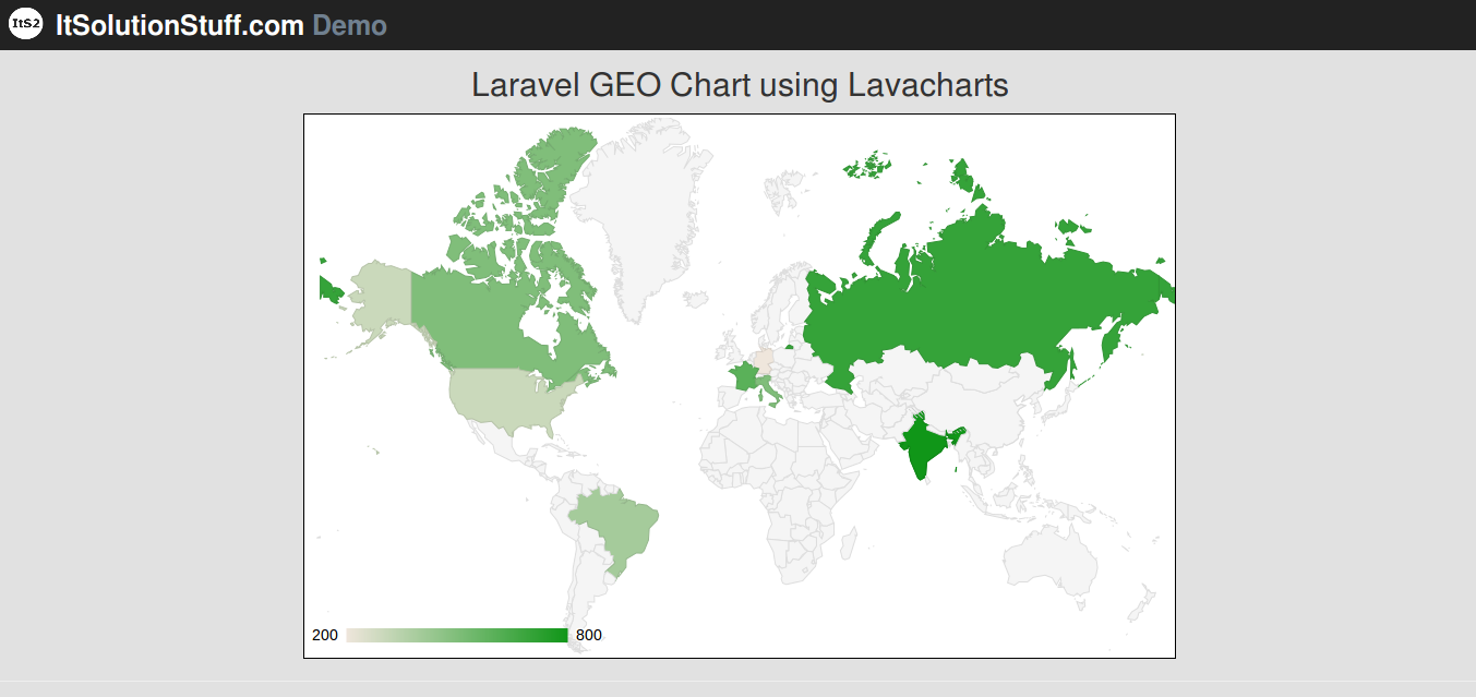 Laravel 5 - GEO chart example and demo using lavacharts package