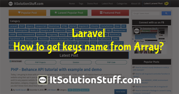 How to get keys name from array using array helper in PHP Laravel ?