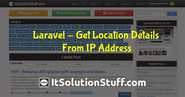 How to get location information from ip address in Laravel ?