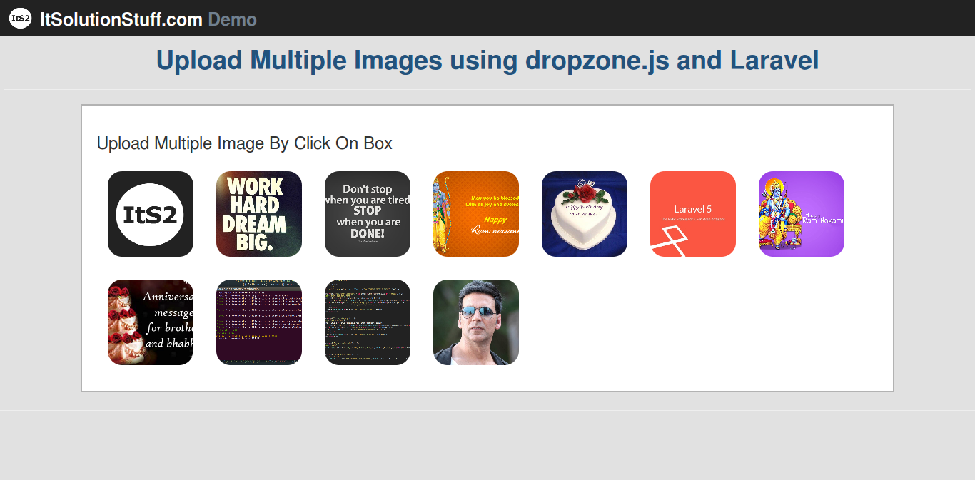 Laravel 5 - Multiple Images Uploading using dropzone.js example with demo