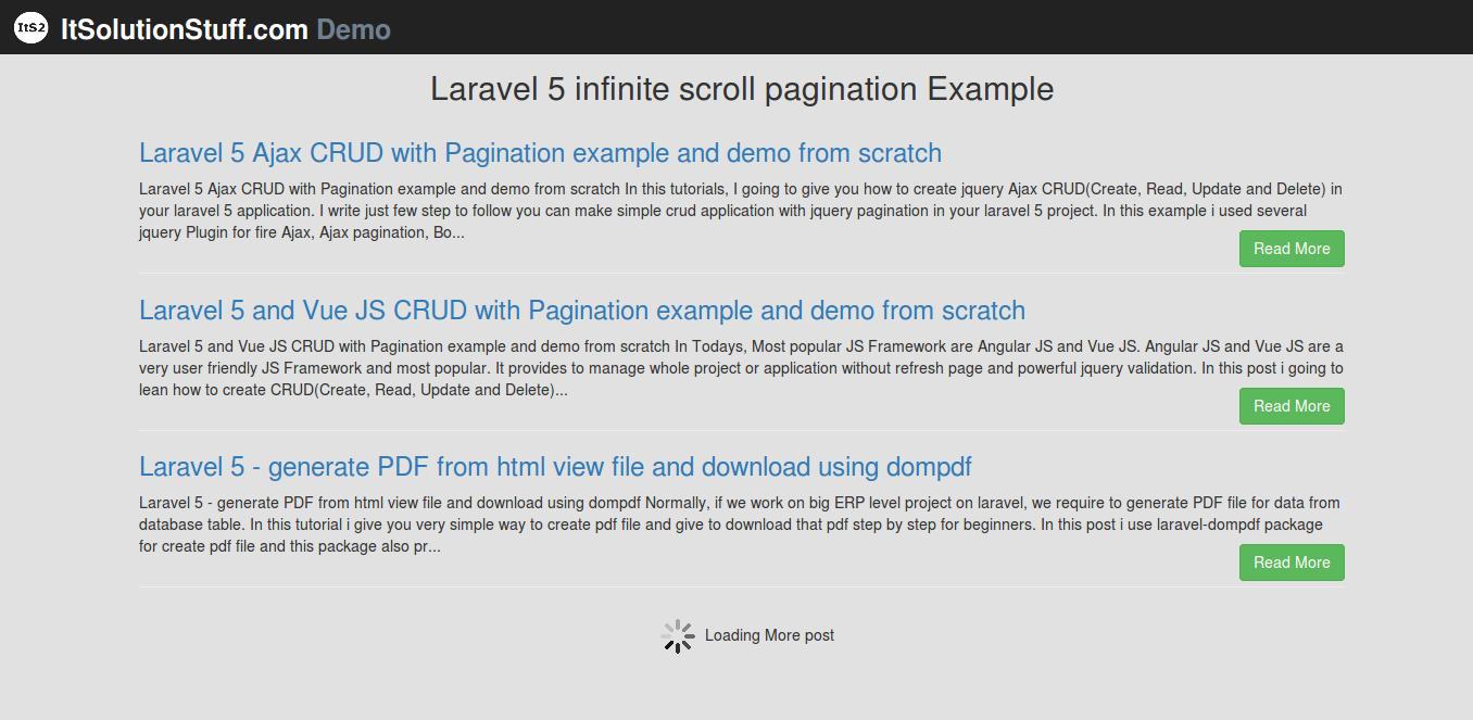 How to implement infinite ajax scroll pagination in Laravel 5?