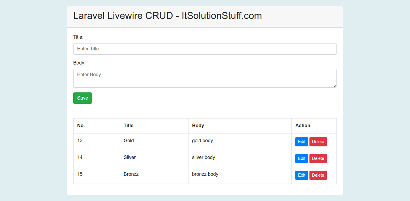 Laravel Livewire CRUD Application Tutorial