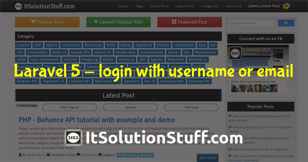 Laravel 5 - login with username or email example