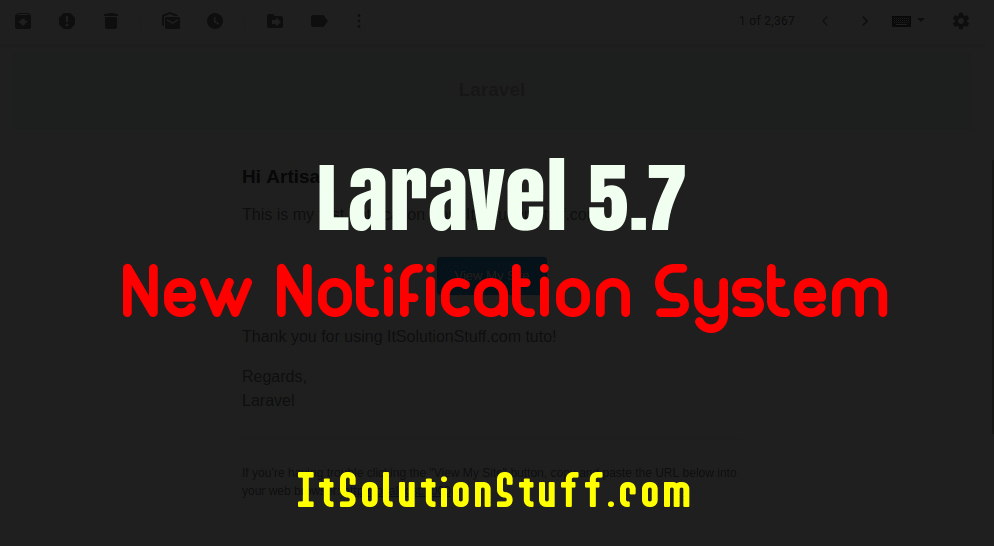 Laravel 5.7 - New Notification System Tutorial for Beginner