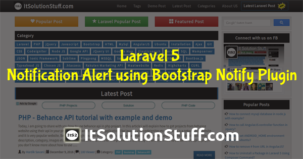 Laravel notification alert using bootstrap notify plugin example