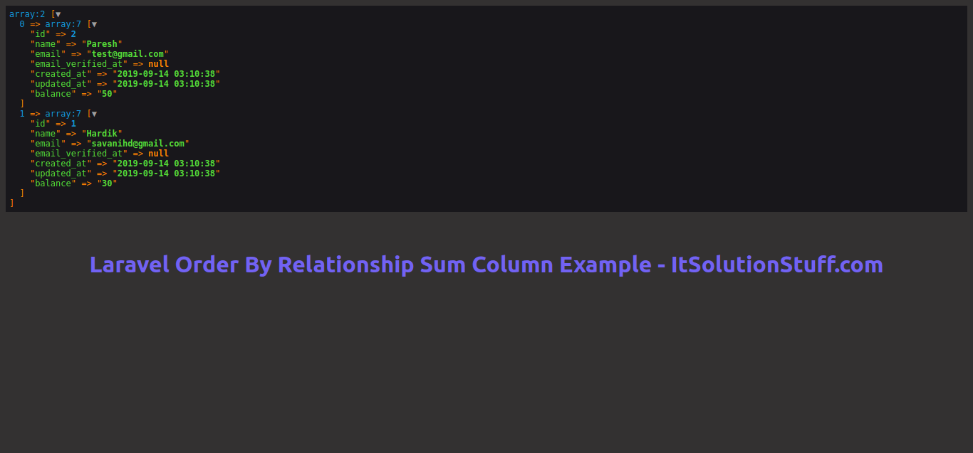 Laravel Order By Relationship Sum Column Example