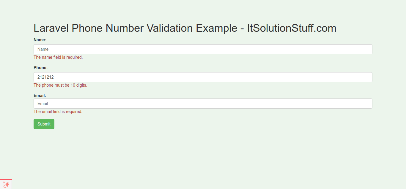 Laravel Mobile/Phone Number Validation Example